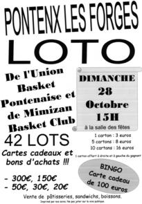 LOTO UNION BASKET PONTENAISE 28 OCTOBRE 2018